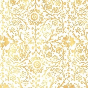 Indian Woodblock in Gold on White (large scale)   Rustic gold floral, hand block printed pattern in yellow and white, botanical print, gold yellow block print design.