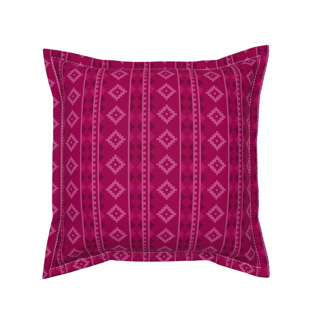 Serama Throw Pillow featuring Stripe Rug in Raspberry by thewellingtonboot