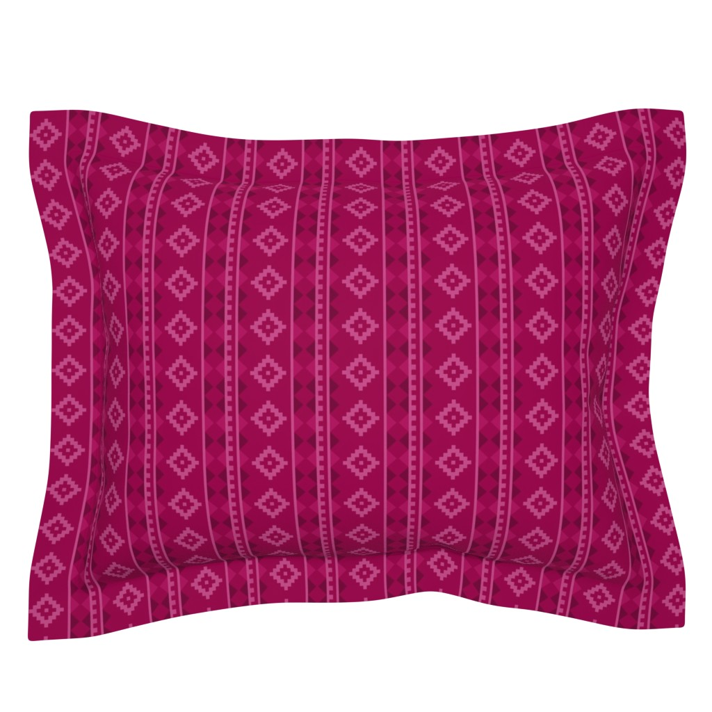 Sebright Pillow Sham featuring Stripe Rug in Raspberry by thewellingtonboot