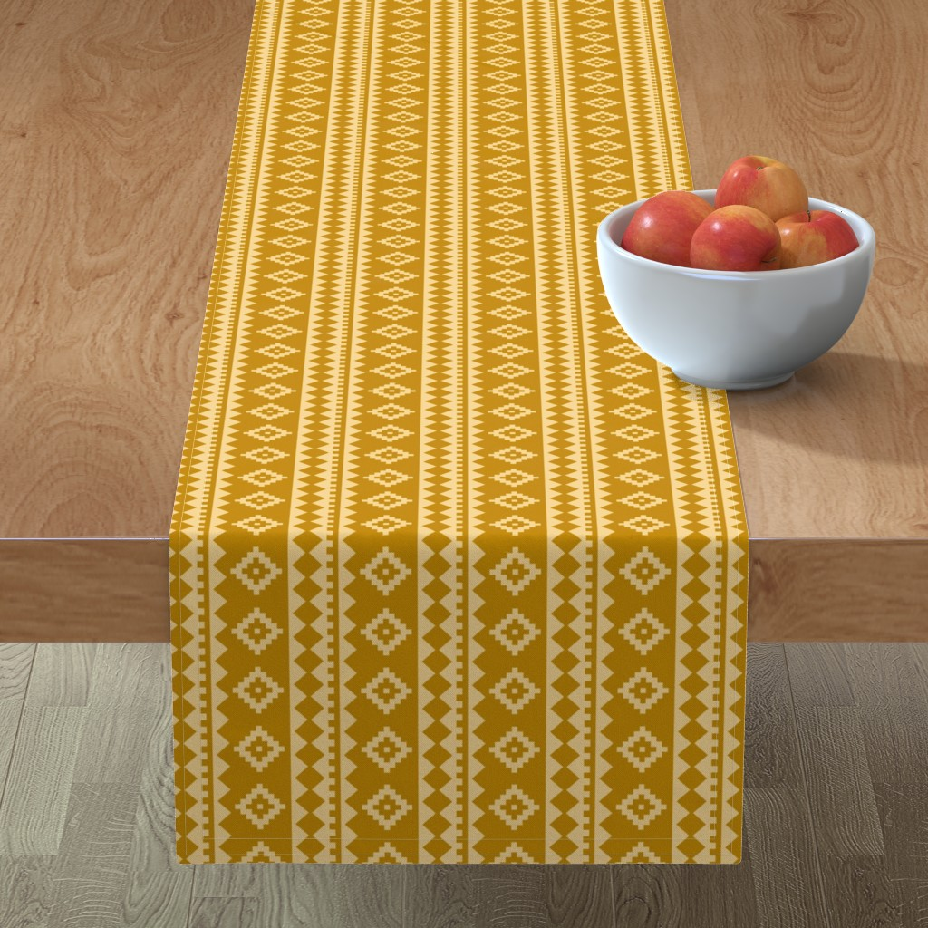 Minorca Table Runner featuring Stripe Rug on Gold by thewellingtonboot