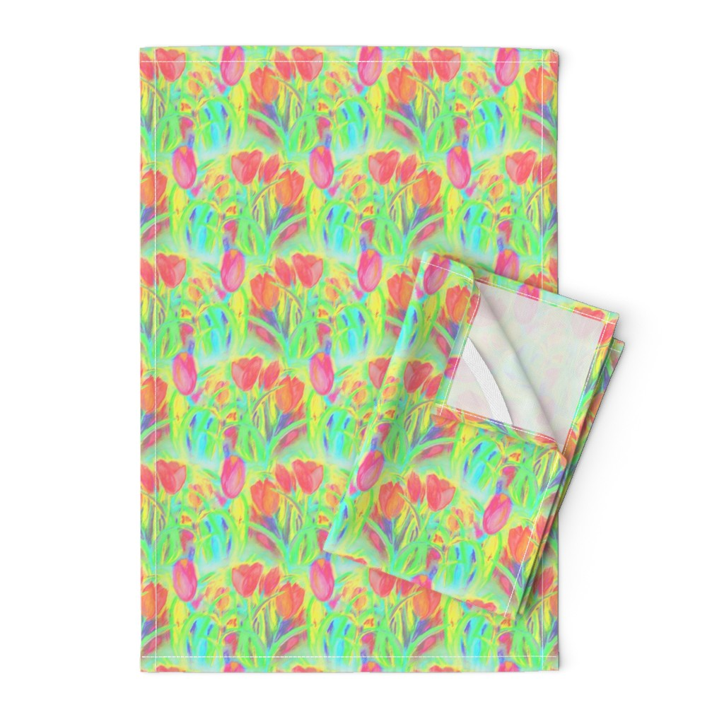Orpington Tea Towels featuring SPRINGTIME TULIP FIELD ROWS GREEN CORAL by paysmage