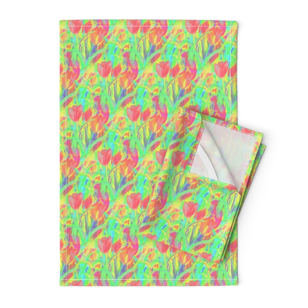 Orpington Tea Towels featuring SPRINGTIME TULIP FIELD DIAGONAL GREEN CORAL by paysmage