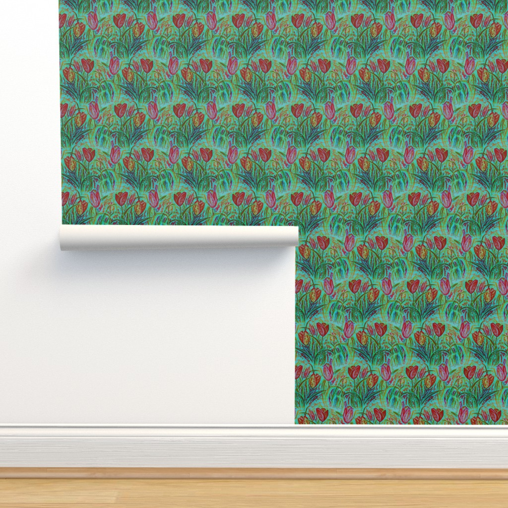 Isobar Durable Wallpaper featuring ANTIQUE TULIP FIELD ROWS TEAL MINT RED by paysmage