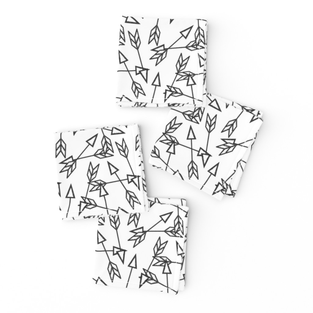 Frizzle Cocktail Napkins featuring Arrow Scatter on White by thewellingtonboot