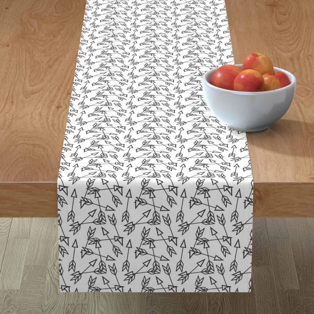 Minorca Table Runner featuring Arrow Scatter on White by thewellingtonboot