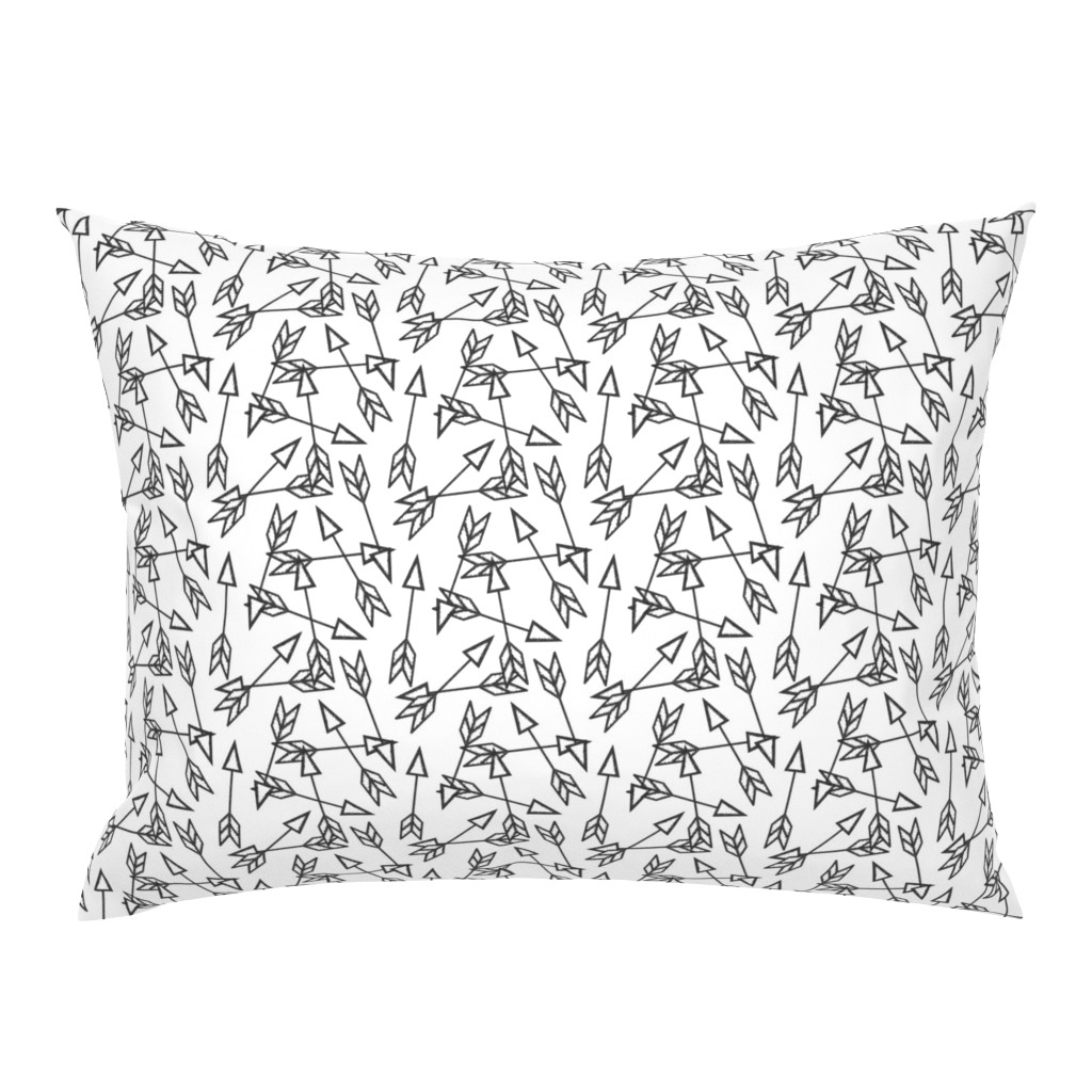 Campine Pillow Sham featuring Arrow Scatter on White by thewellingtonboot