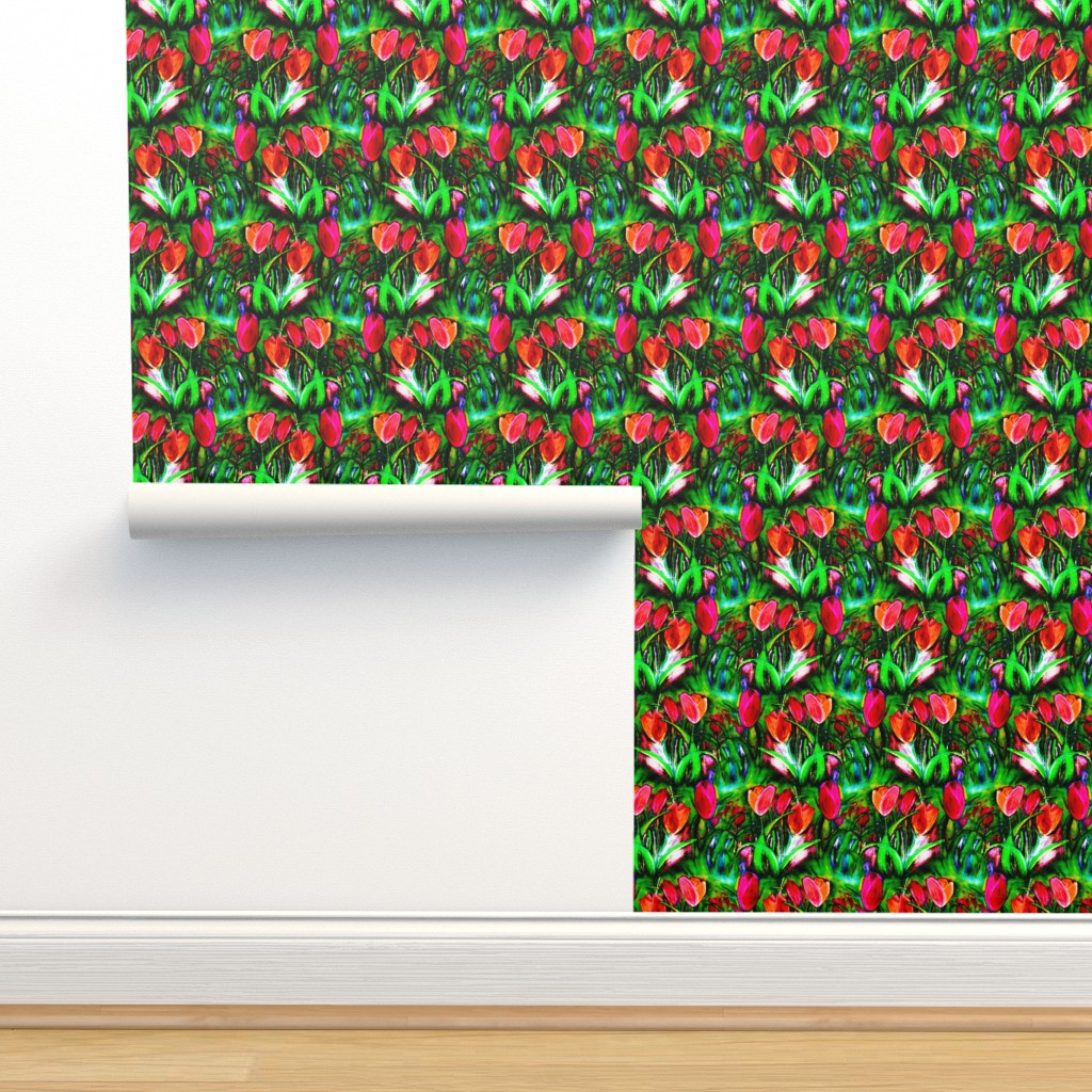 Isobar Durable Wallpaper featuring VIBRANT RED GREEN TULIP FIELDS ROWS by paysmage