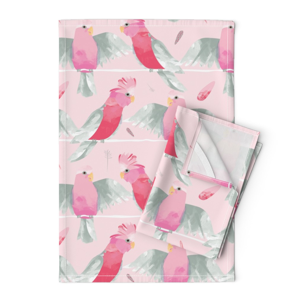 Orpington Tea Towels featuring Pink Galahs // Australian birds pink grey parrot cockatoo feathers by mountvicandme