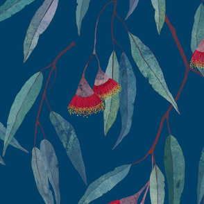 Eucalyptus leaves and flowers on blue /2/