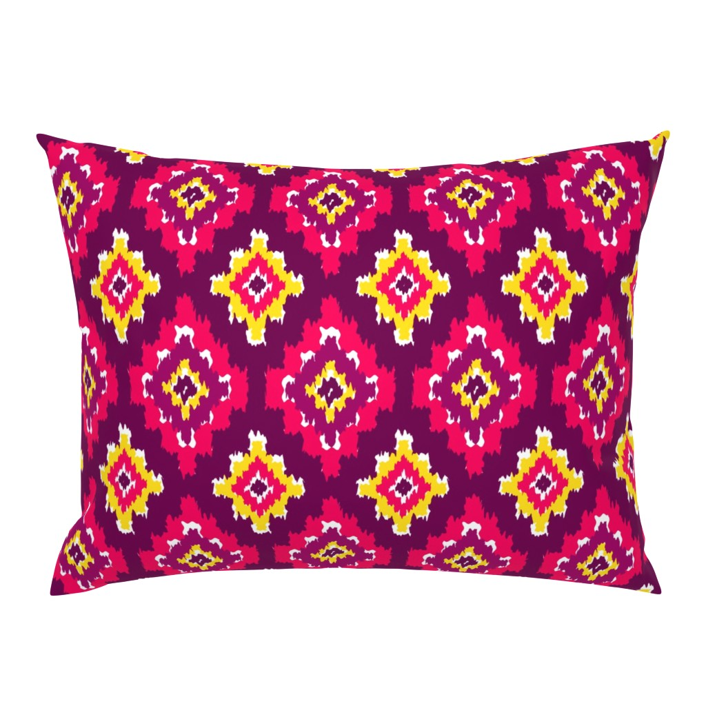 Campine Pillow Sham featuring Boho Ikat in Fiery Pink by thewellingtonboot