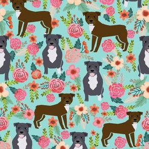pitbull floral fabric - brown and blue pittys design - light blue