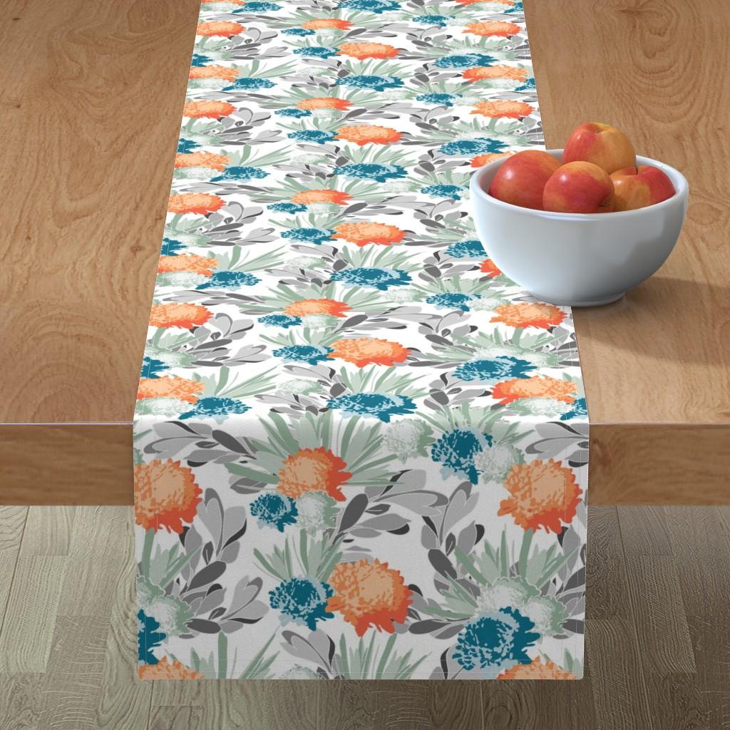 Minorca Table Runner featuring Davina Orange & Blue Mum Floral by deanna_v_amirante