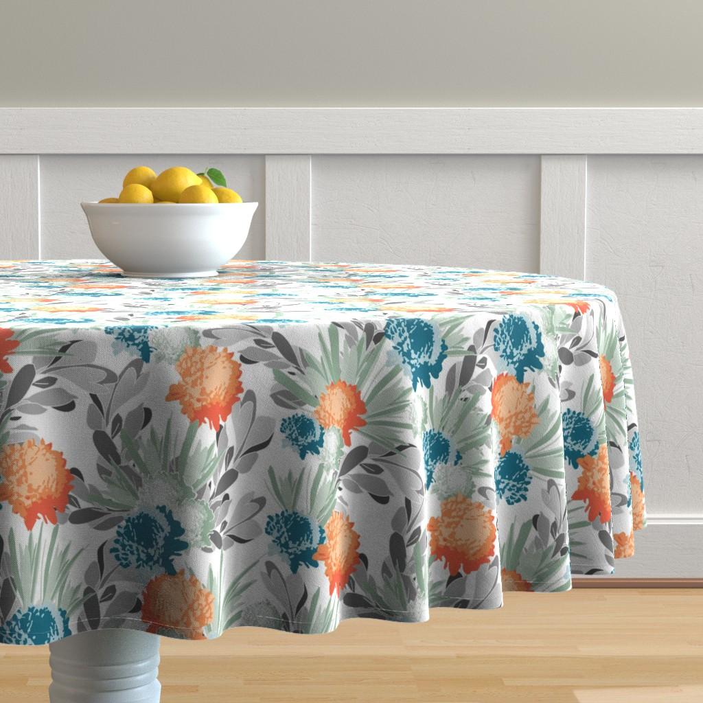 Malay Round Tablecloth featuring Davina Orange & Blue Mum Floral by deanna_v_amirante
