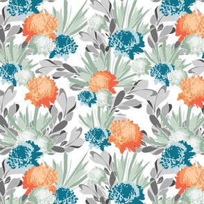 Davina Orange & Blue Mum Floral