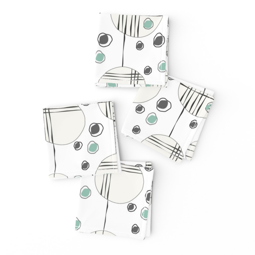 Frizzle Cocktail Napkins featuring Circles & String Green by deanna_v_amirante