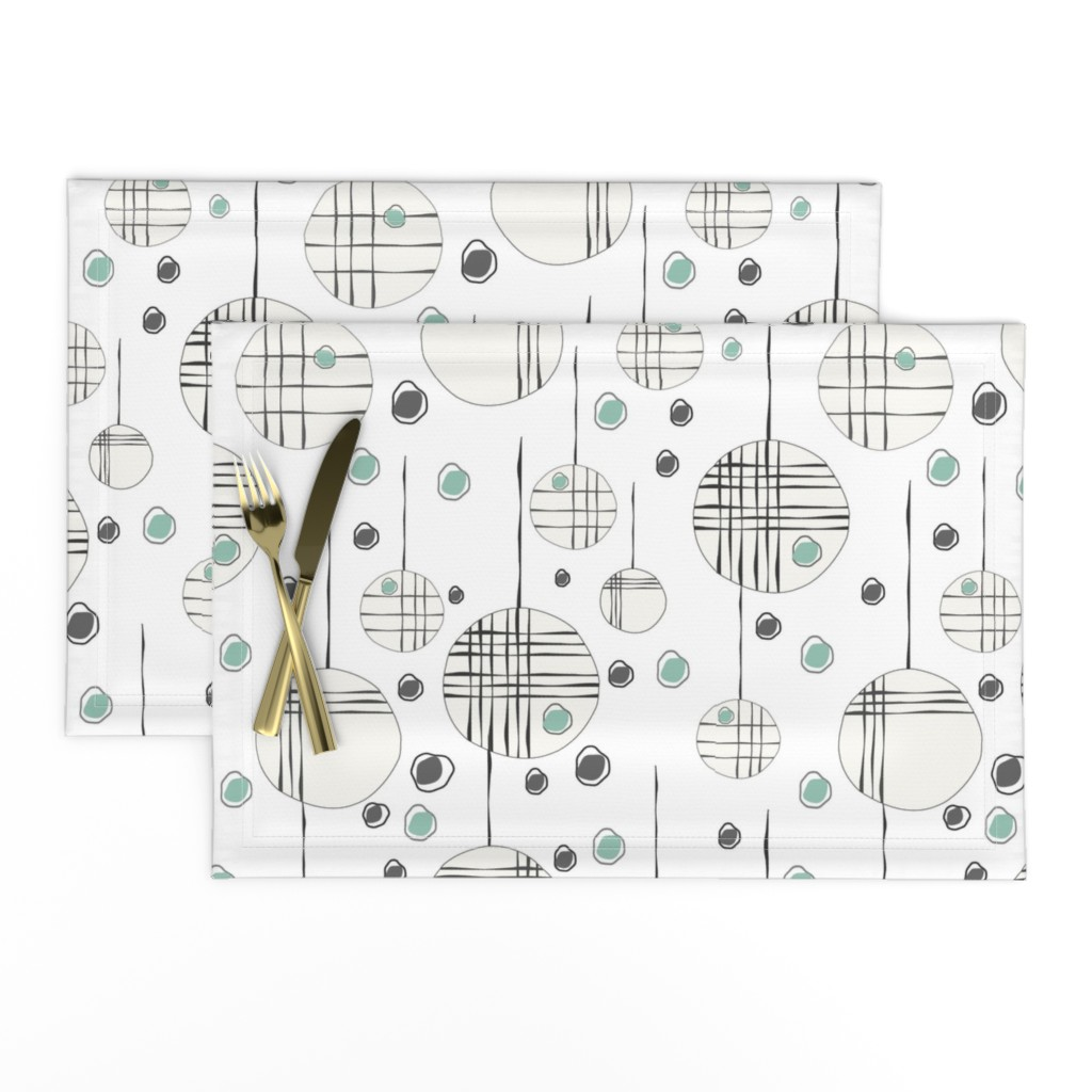 Lamona Cloth Placemats featuring Circles & String Green by deanna_v_amirante