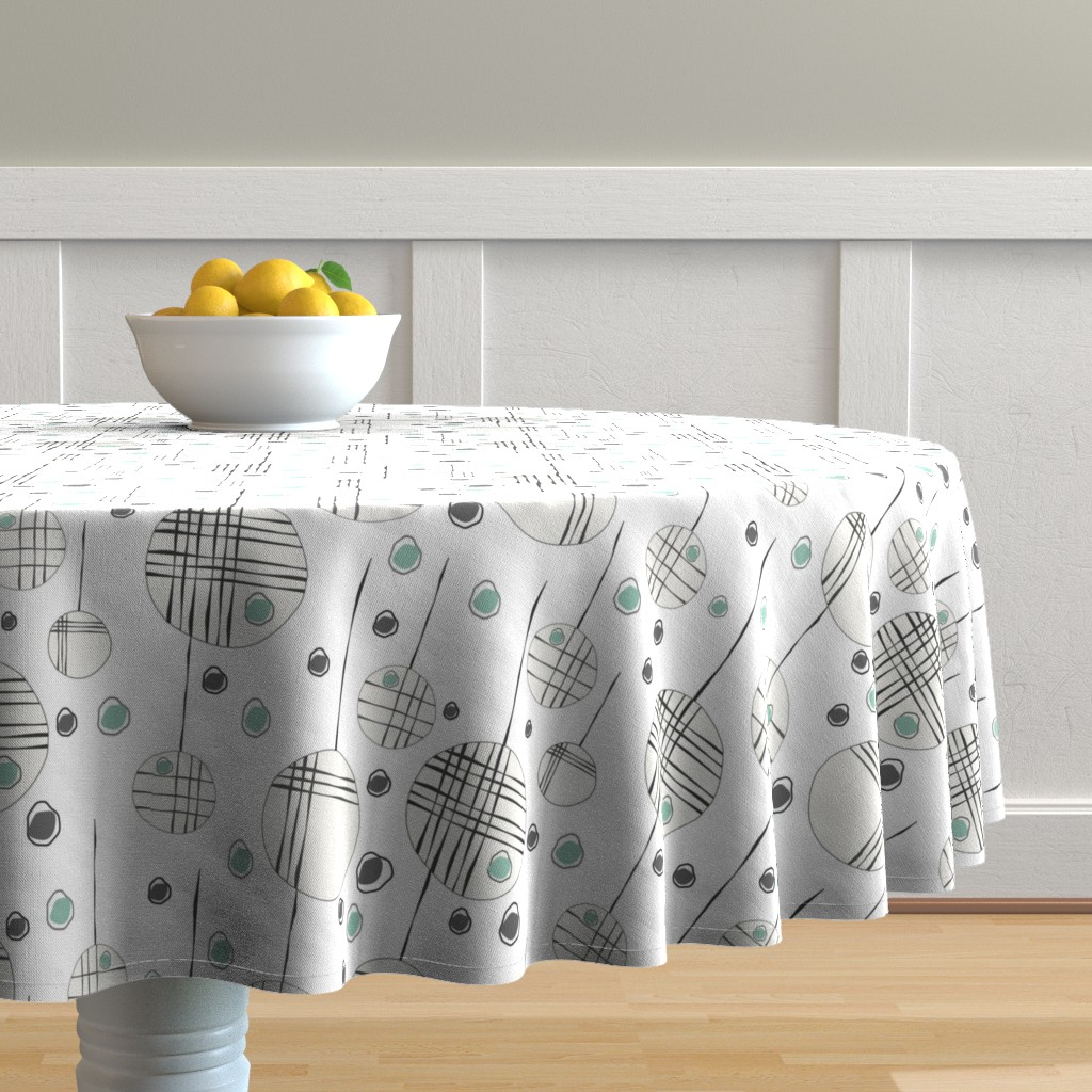 Malay Round Tablecloth featuring Circles & String Green by deanna_v_amirante