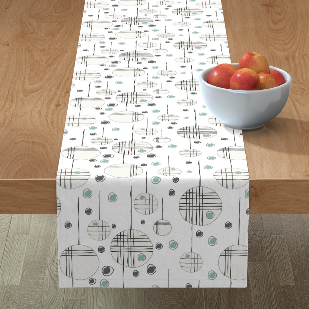 Minorca Table Runner featuring Circles & String Green by deanna_v_amirante