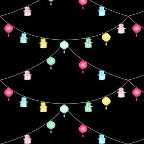 Chinoiserie Lanterns on black- Large print