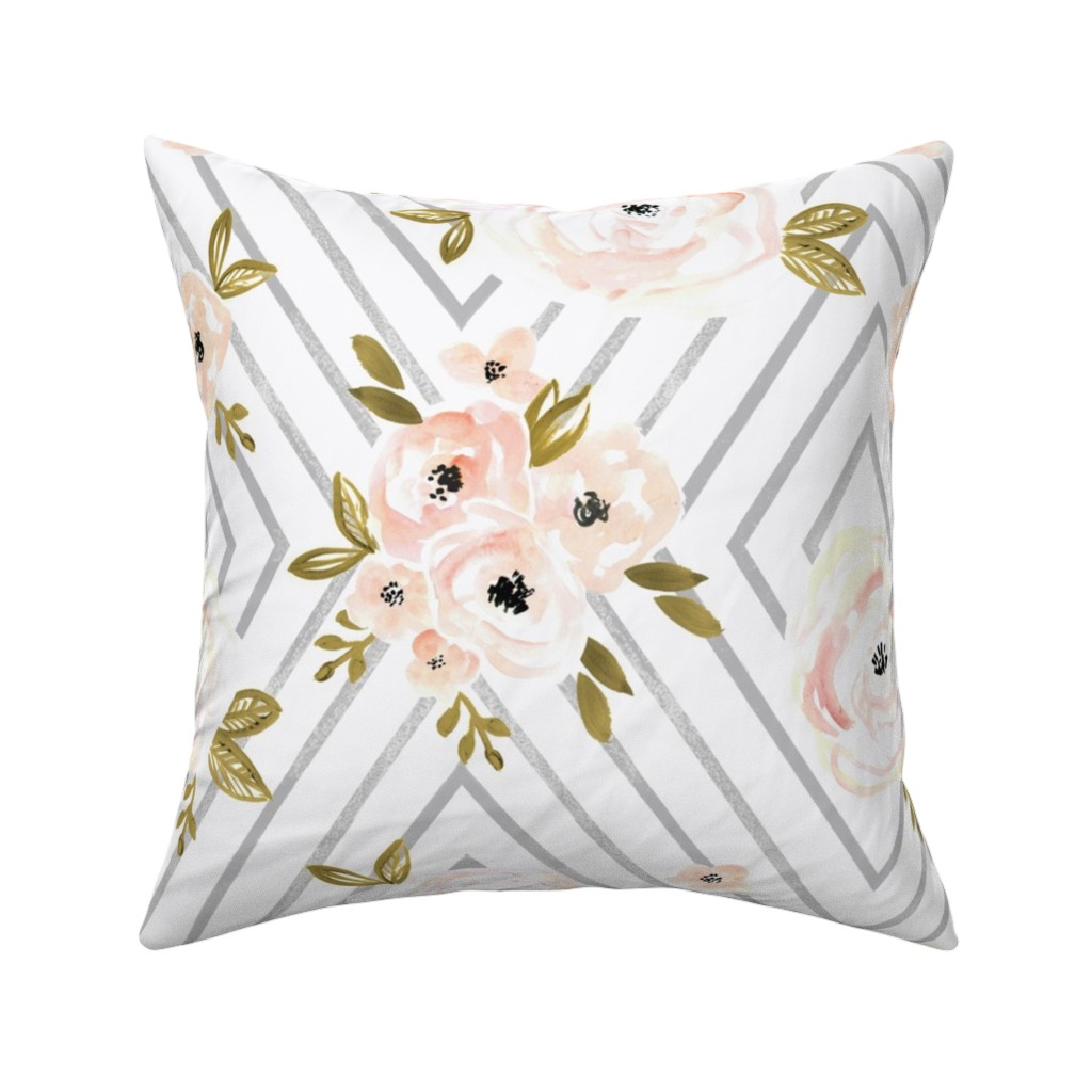 Catalan Throw Pillow featuring Peach Roses Mod by crystal_walen