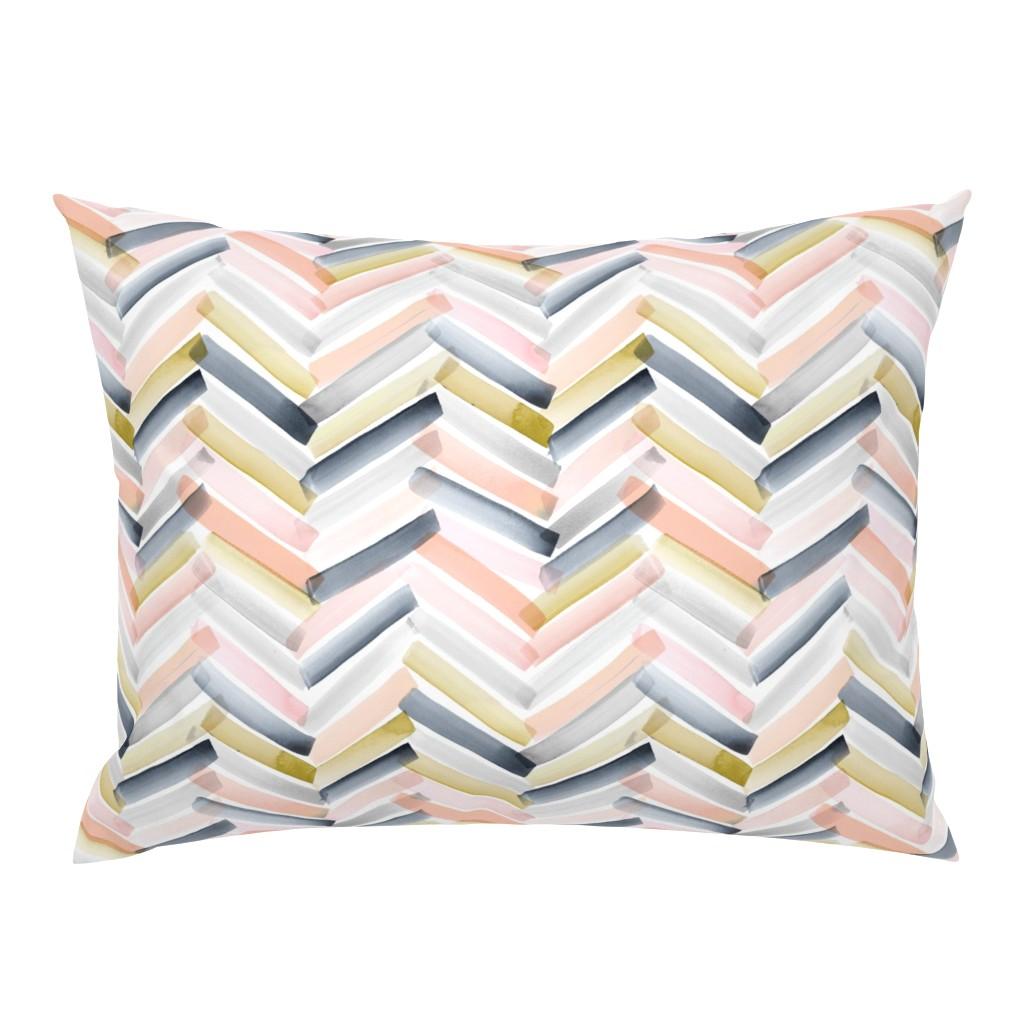 Campine Pillow Sham featuring Chevron Blush Navy by crystal_walen