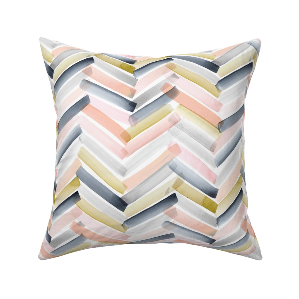 Catalan Throw Pillow featuring Chevron Blush Navy by crystal_walen
