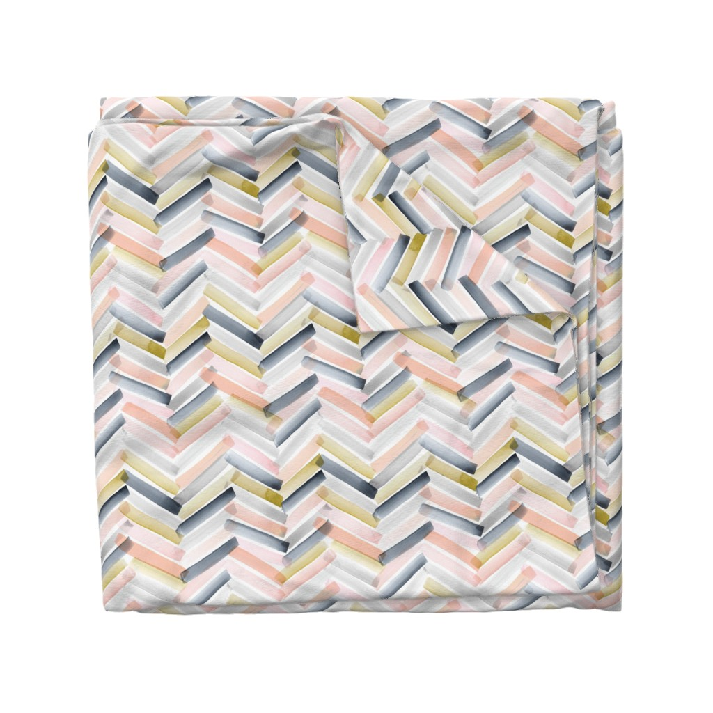 Wyandotte Duvet Cover featuring Chevron Blush Navy by crystal_walen