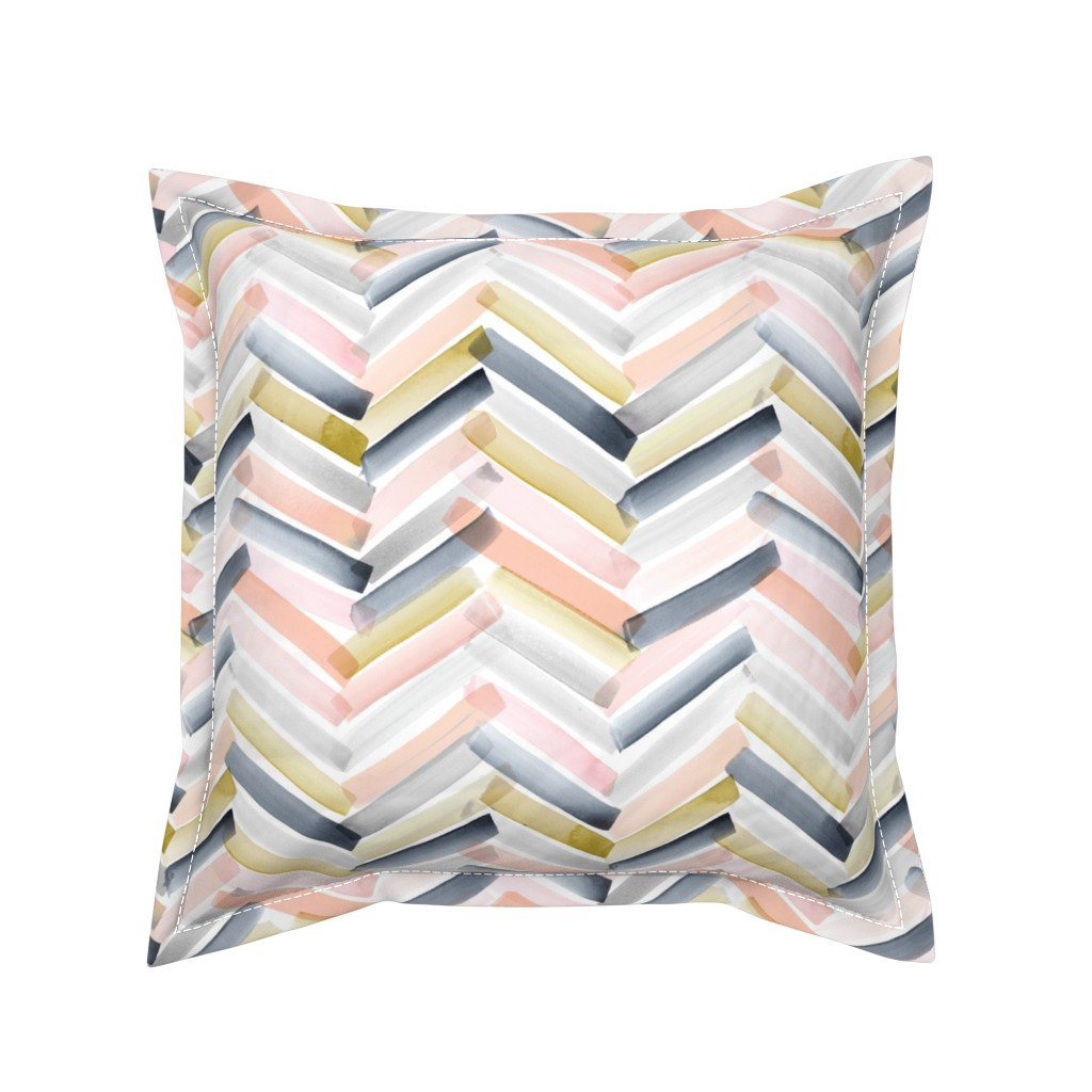 Serama Throw Pillow featuring Chevron Blush Navy by crystal_walen