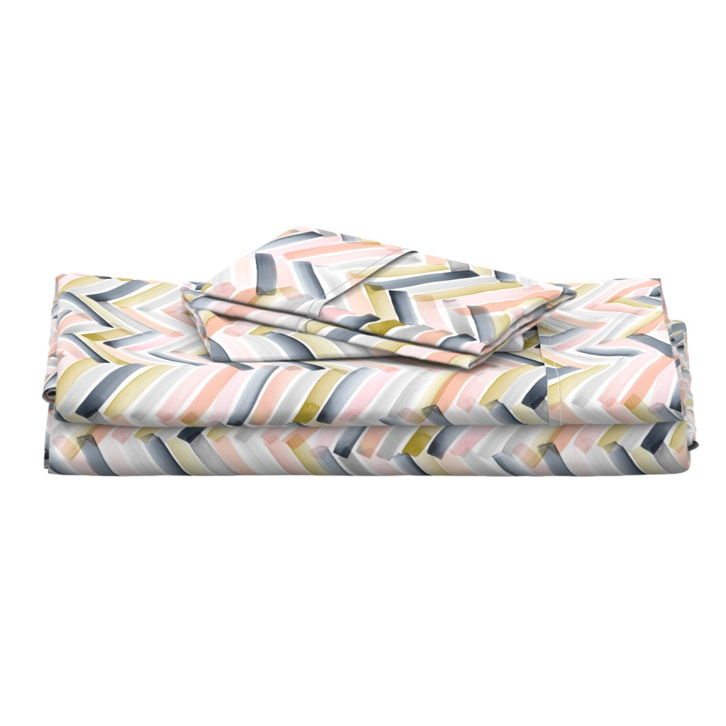 Langshan Full Bed Set featuring Chevron Blush Navy by crystal_walen