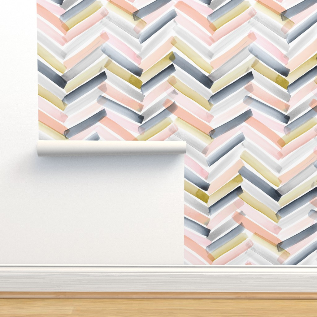 Isobar Durable Wallpaper featuring Chevron Blush Navy by crystal_walen