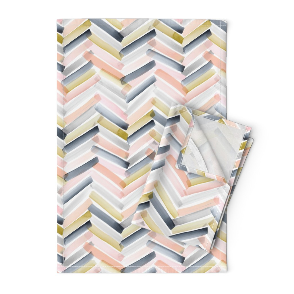 Orpington Tea Towels featuring Chevron Blush Navy by crystal_walen