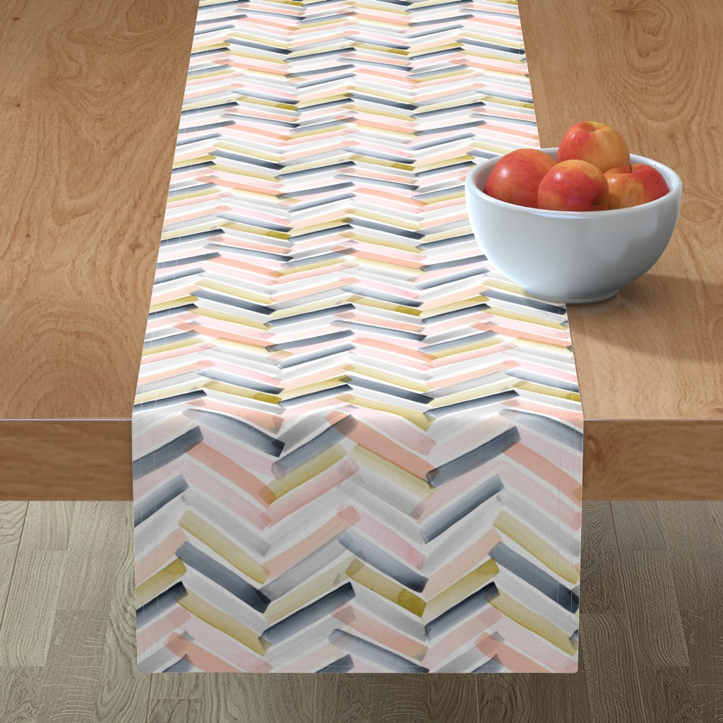 Minorca Table Runner featuring Chevron Blush Navy by crystal_walen