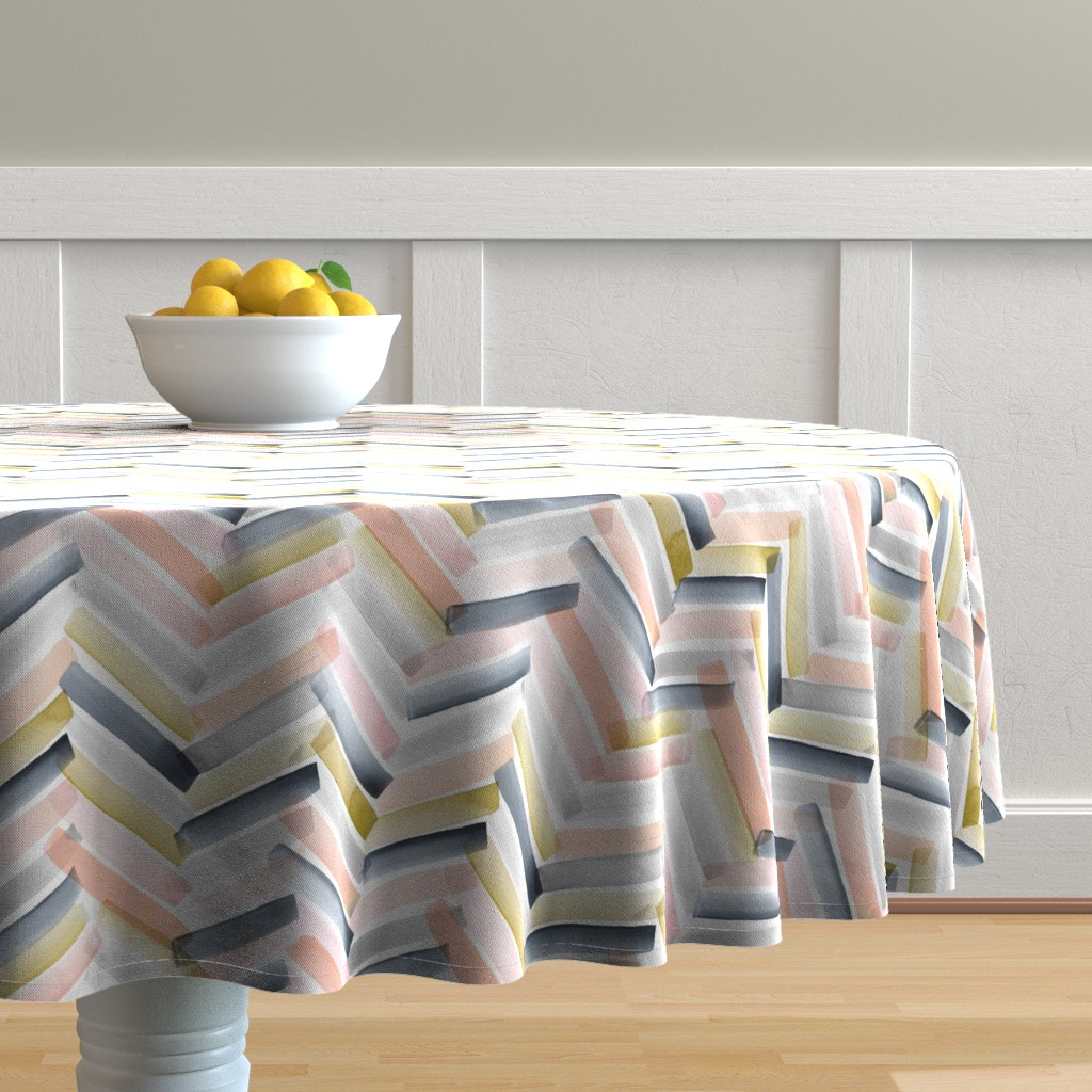 Malay Round Tablecloth featuring Chevron Blush Navy by crystal_walen