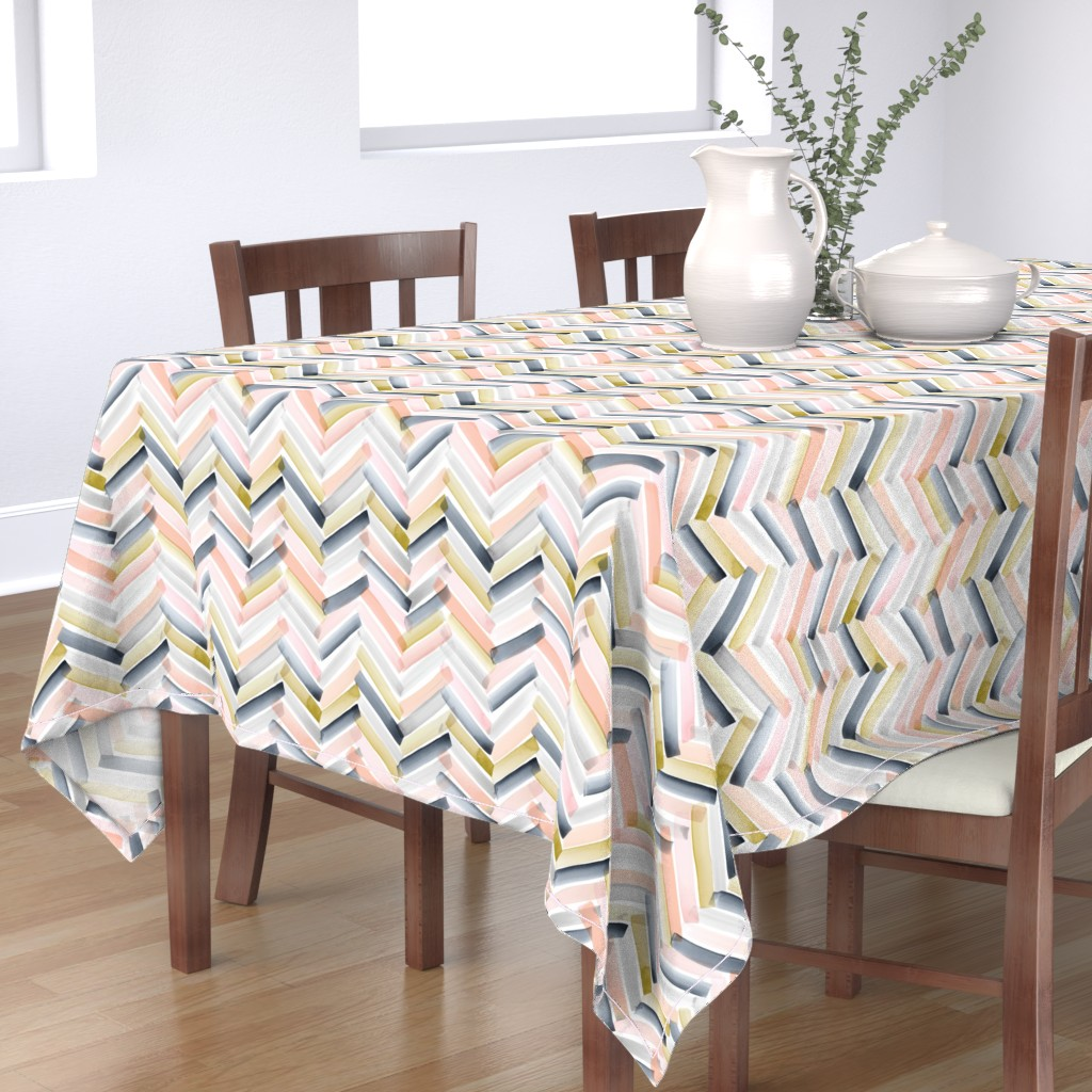 Bantam Rectangular Tablecloth featuring Chevron Blush Navy by crystal_walen