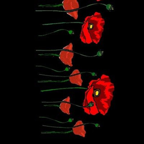 Continuous Red Poppies on Black