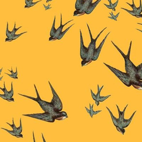 Descending Swallows in Mustard
