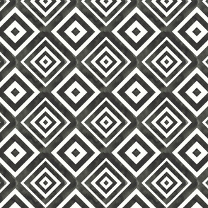Black watercolor geometric boho pattern