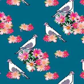 Birds and Flowers Teal Upholstery Fabric