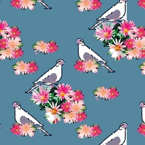 Birds and Flowers Light Blue Upholstery Fabric