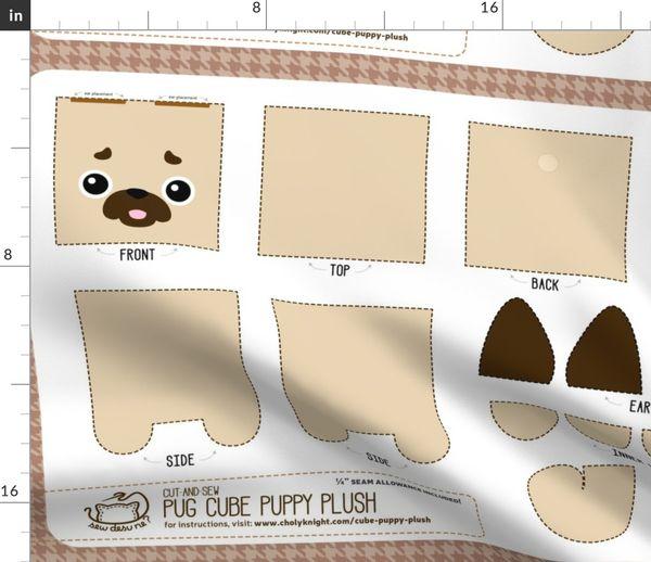 Fabric by the Yard Cut & Sew Pug Cube Puppy Plush