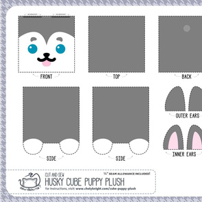 Cut & Sew Husky Cube Puppy Plush