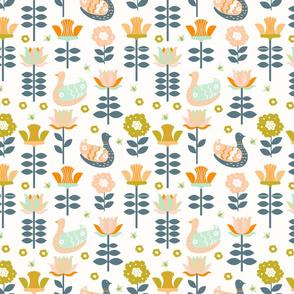 Swedish Folk Art Flora & Hens