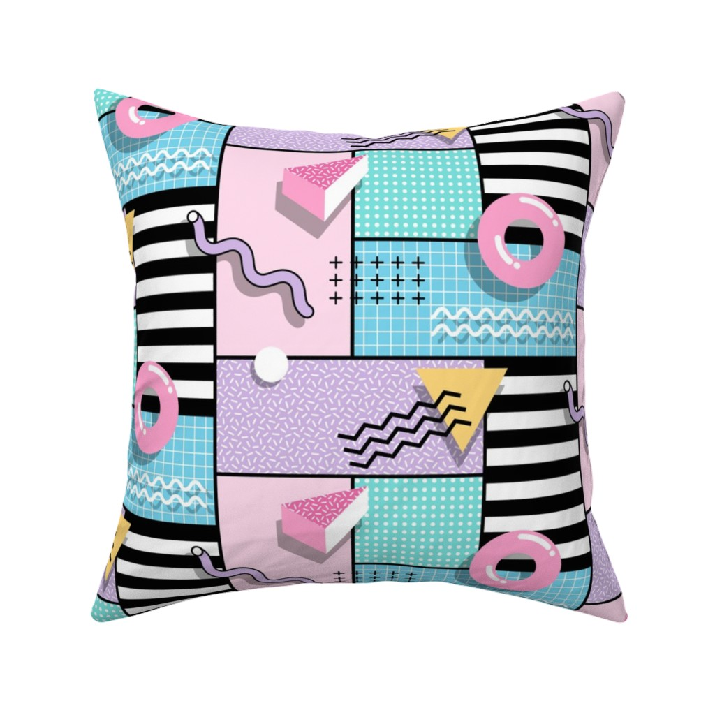 Catalan Throw Pillow featuring Memphis Party by mia_valdez