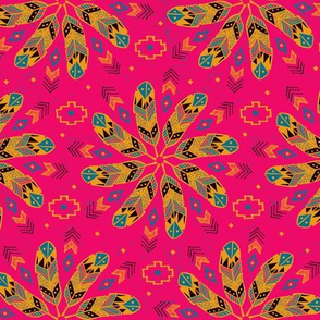 Bohemian Feathers (Hot Pink)