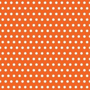 White Polka Dot on Orange