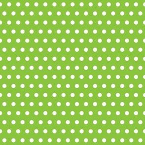 White Polka Dot on Lime Green