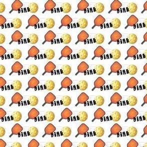"Pickleball ""Dink"" in Orange & Yellow on White"