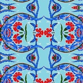 Tahtakale Flowers Stripe allover-Turquise
