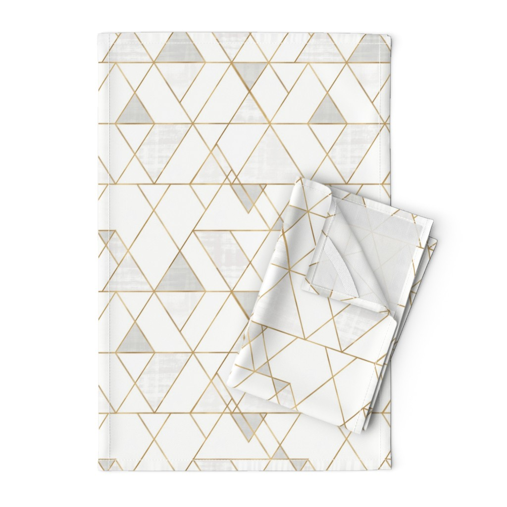 Orpington Tea Towels featuring Mod Triangles - white + gold by crystal_walen