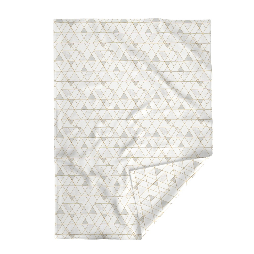Lakenvelder Throw Blanket featuring Mod Triangles - white + gold by crystal_walen